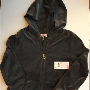 New with tags JUICY COUTURE GREY VELVET HOODIE SM